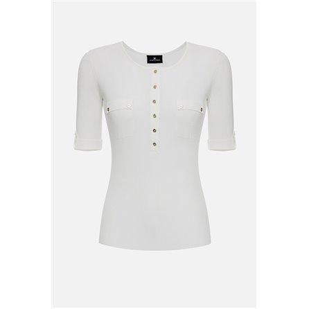 ELISABETTA FRANCHI - T-Shirt In Maglia Avorio
