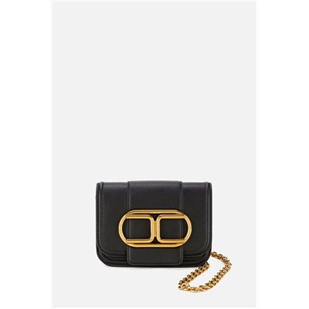 ELISABETTA FRANCHI - Mini Clutch Bag Con Maxi Logo Nero