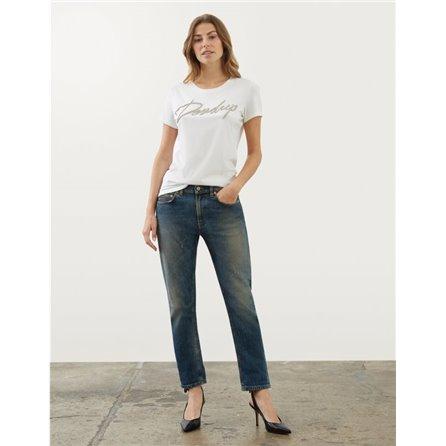 DONDUP - T-Shirt Con Logo In Strass Bianco